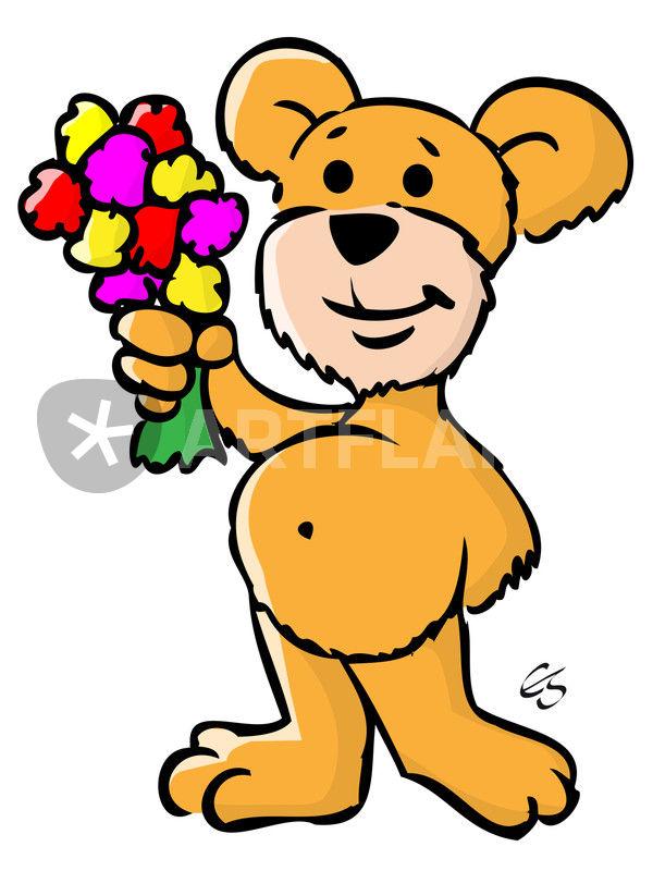 comic teddy b r mit blumenstrau comic teddy bear with. Black Bedroom Furniture Sets. Home Design Ideas