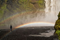 Rainbow over waterfall by Federico C.