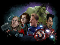 Avengers in a row by Alex Gallego