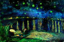 The Death of Ophelia on a Starry night by Karine PERCHERON DANIELS