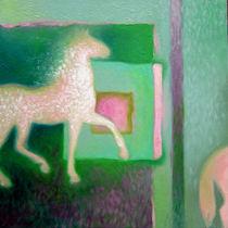 TRIPTIC green horses on the wall 2 von Andreea raluca Tifigiu