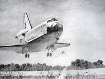 Atlantis space shuttle landing - drawing by Tomáš Kruták