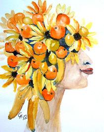 Frau mit Orangen und Bananen by Christine  Hamm