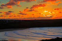 Sunset over the Gannel, Cornwall von Louise Heusinkveld