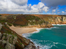 Porthcurno beach and cliffs, Cornwall.  by Louise Heusinkveld