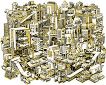 City Machine - Gold von Nigel Sussman
