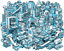 City Machine - Blue von Nigel Sussman