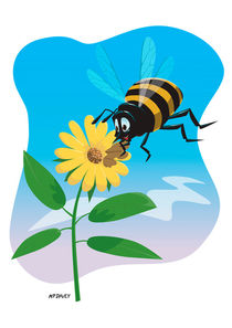 Happy cartoon bee with yellow flower by Martin  Davey
