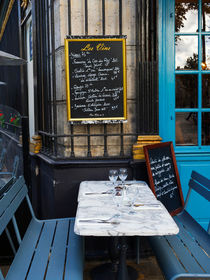 Chalkboard at an outdoor cafe in Paris by Louise Heusinkveld