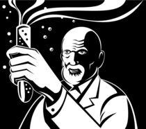 Crazy Mad Scientist Test Tube Retro von patrimonio