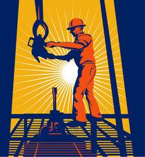 worker on oil rig sealing well retro von patrimonio