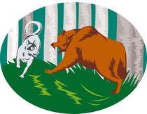 Wild Dog Wolf Fighting Grizzly Bear Retro von patrimonio