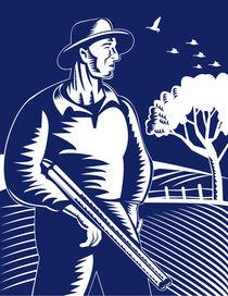 farmer hunter with shotgun rifle retro von patrimonio