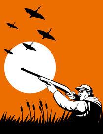 hunter aiming shotgun rifle retro von patrimonio