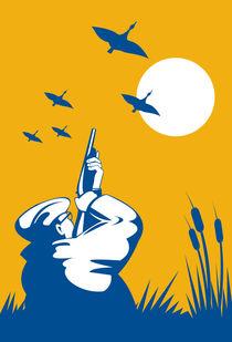 hunter aiming shotgun rifle at duck retro von patrimonio
