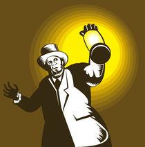 Man Wearing Top hat And Holding Lantern Retro von patrimonio