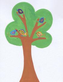 Gouache Tree with Birds by Tasha Goddard
