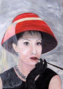 Frau mit rotem Hut von Elisabeth Maier