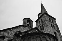 Church of the Assumption of Mary in Bossost - Abse and tower BW von RicardMN Photography