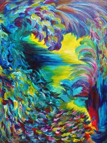 FLIGHT ON TAP - Whimsical Colorful Feathers Fountain Peacock Abstract Acrylic Painting Purple Teal von Ebi Emporium