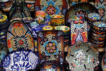 Colurful Mexican Pottery by John Mitchell