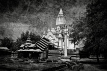 Old Whitewashed Lemyethna temple BW by RicardMN Photography