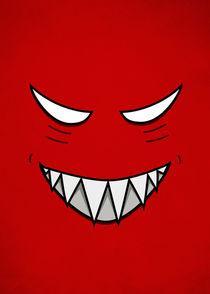 Red Grinning Face With Evil Eyes by Boriana Giormova