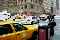 Block USA 2008 – Set 007 – Bild A – Times Square – Yellow Cab, Police Car by Peter Heiko Wassenberg