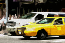 Block USA 2008 – Set 013 – Bild A – Times Square – Yellow Cab, Stretch Van by Peter Heiko Wassenberg