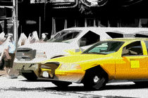Block USA 2008 – Set 013 – Bild B – Times Square – Yellow Cab, Stretch Van by Peter Heiko Wassenberg