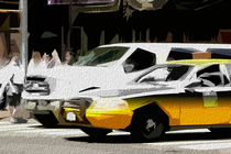 Block USA 2008 – Set 013 – Bild C – Times Square – Yellow Cab, Stretch Van by Peter Heiko Wassenberg