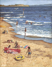 Painting-people-on-bournemouth-beach-blue-sea