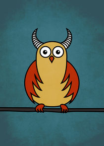 Funny Cartoon Horned Owl  von Boriana Giormova