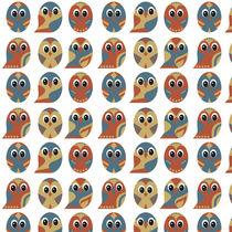 Owl Pattern on White Background by Tasha Goddard