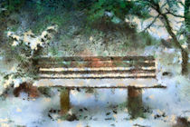 Wooden bench in the Forest von Gina Koch