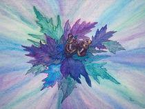 Blaue Blätter mit Schmetterling von Dagmar Laimgruber