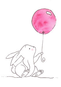 Hase Valentina mit rosa Luftballon - Bunny Valentina with pink ballon von werkundwunder