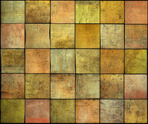 abstract square tile grunge pattern in orange,yellow and pink by johnjohnson