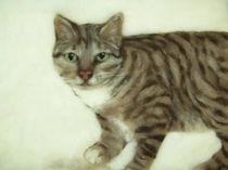 Wollbild Katze Mariechen von Birgit Albert