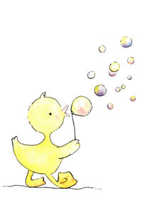 Ente Polly pustet Seifenblasen - Duck Polly blows bubbles von werkundwunder