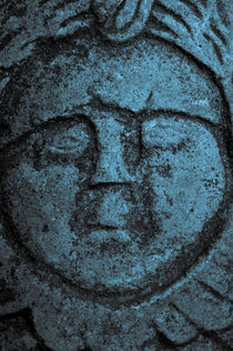 Old stone face in blue by Lars Hallstrom
