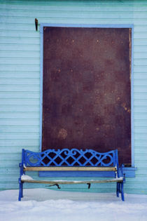 blue bench by Priska  Wettstein