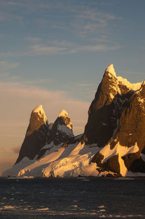 ANTARCTICA, ANTARCTIC PENINSULA, LEMAIRE CHANNEL, MOUNTAINS AND GLACIERS IN EVENING LIGHT von Wolfgang Kaehler