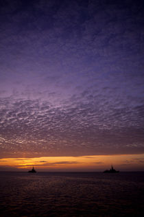 ECUADOR, GALAPAGOS ISLANDS, NAVY SHIPS IN SUNSET by Wolfgang Kaehler