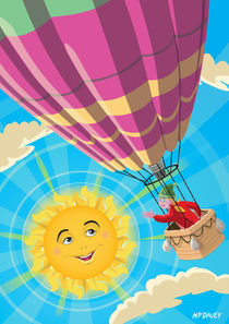 Girl in a balloon greeting a happy sun von Martin  Davey