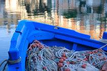 Nets in a blue boat by Intensivelight Panorama-Edition