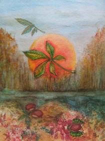 Herbstlandschaft mit Kastanien(autumn landscape,leaves and chestnuts) von Dagmar Laimgruber