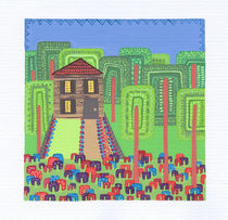 Houses in the Woods (Rectangles) by Tasha Goddard