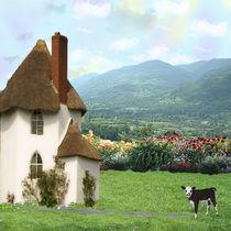 Calf in Garden by Gayle  Sadler