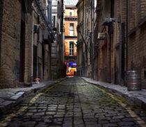 Looking down a long dark back alley by illu